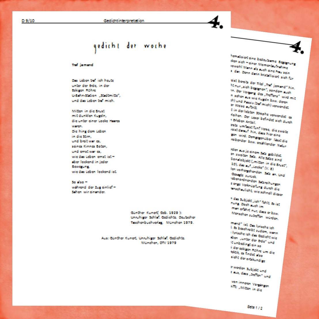 Gedicht Woche 4 Traf jemand (Günter Kunert)