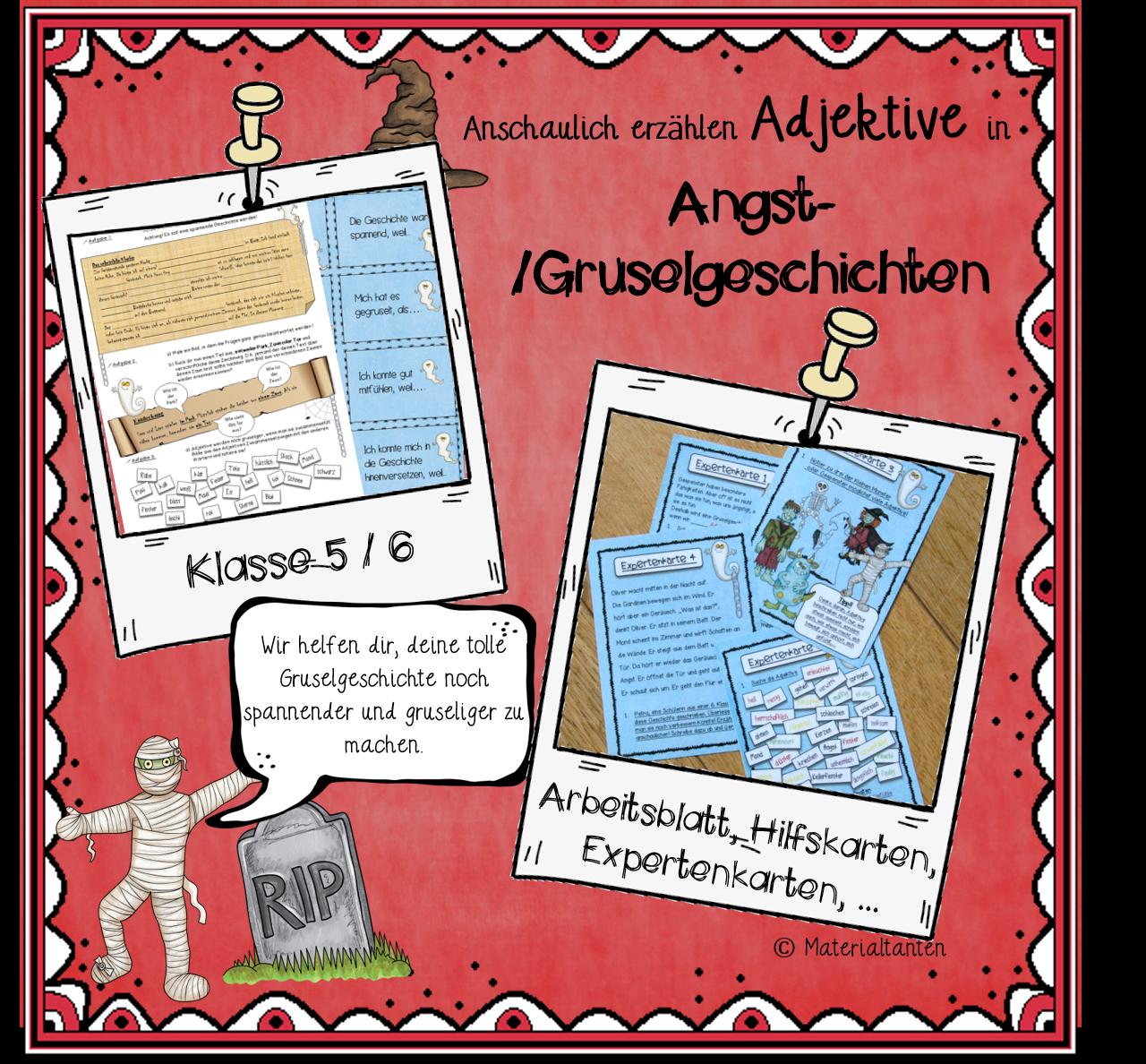 Angst-/Gruselgeschichten - Adjektive - Materialtanten