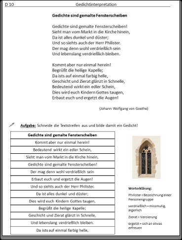 Goethe gedichte sind gemalte fensterscheiben
