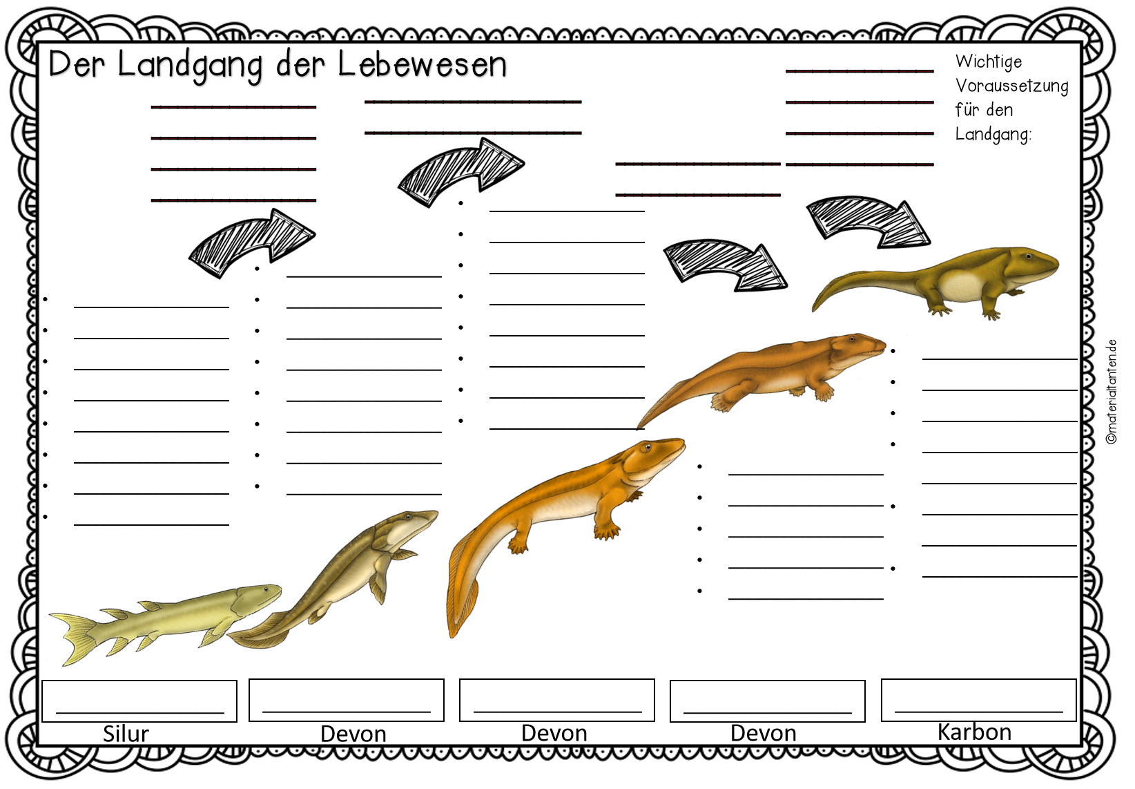 Evolution Stunde 2: Der Landgang der Lebewesen - Materialtanten