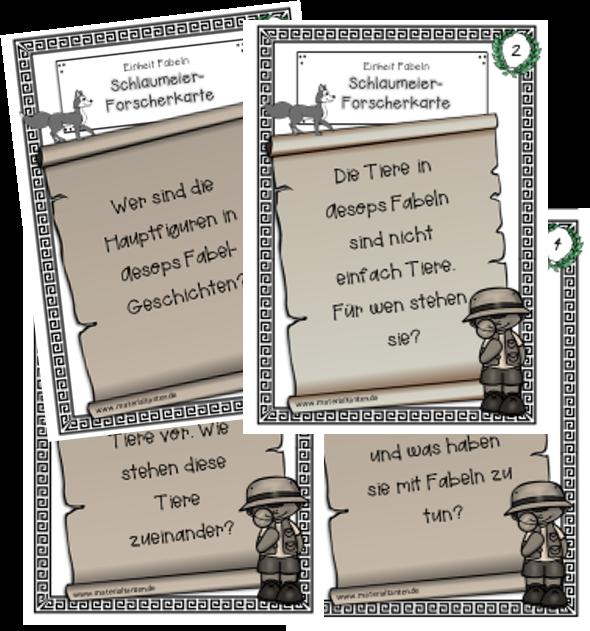 Fabeln 2 Schlaumeierkarten schwarz weiß