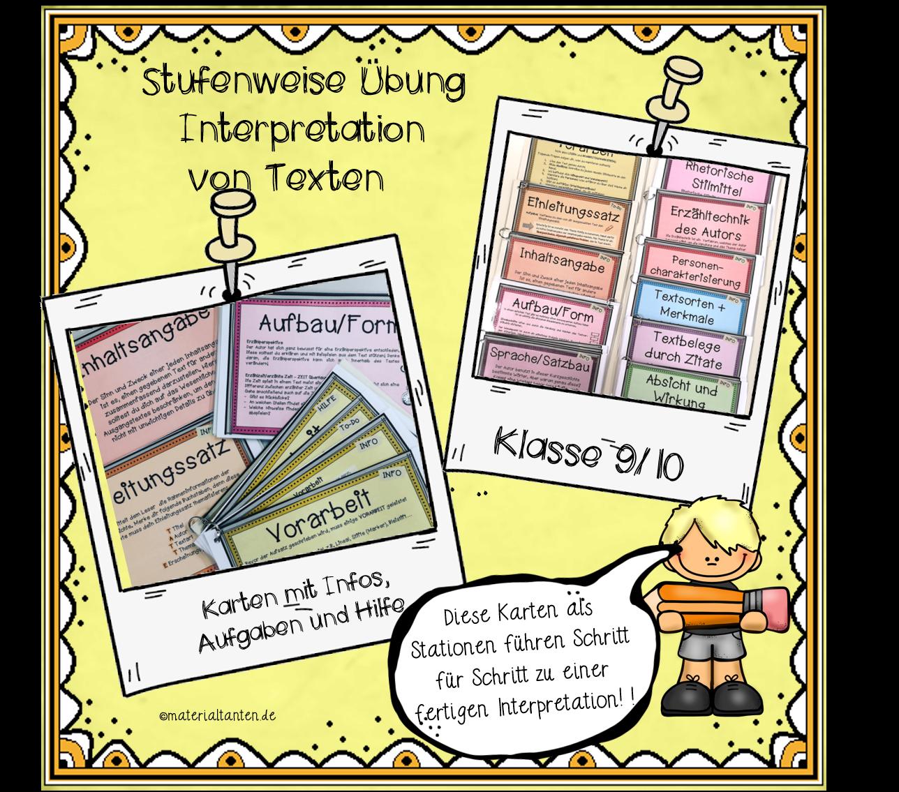 Textinterpretation Karten Info Und übung Materialtanten